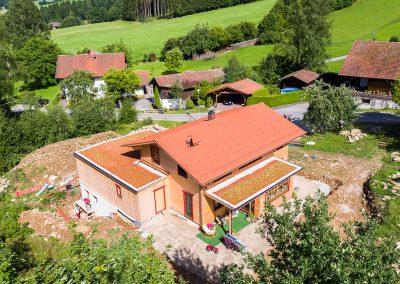 Teredo Vollholzhaus Luftaufnahme Dachbegrünung Blockhaus