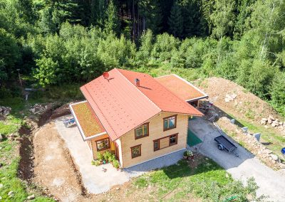 Teredo Vollholzhaus Luftaufnahme Dachbegrünung Block28